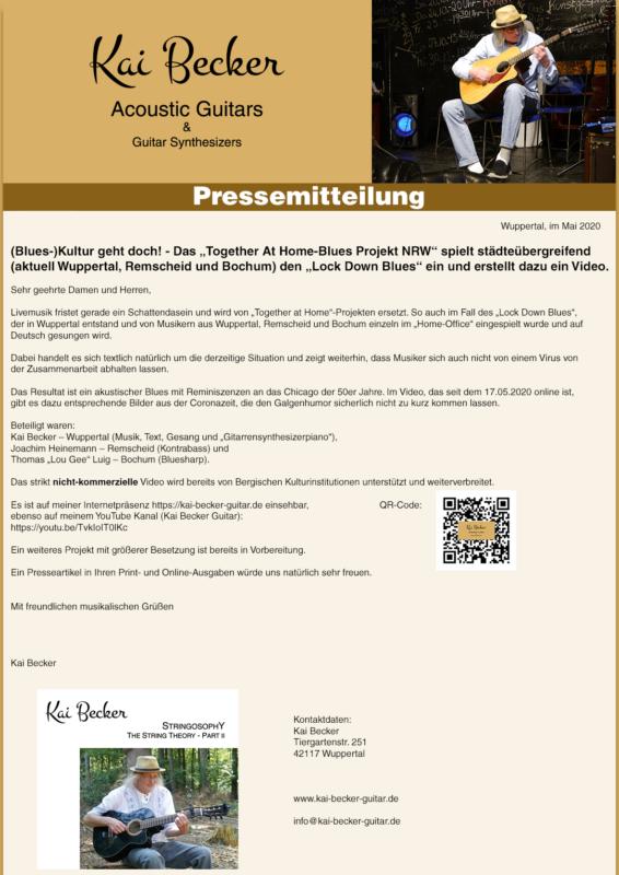 Pressemitteilung - Together at Home - Blues Projekt NRW